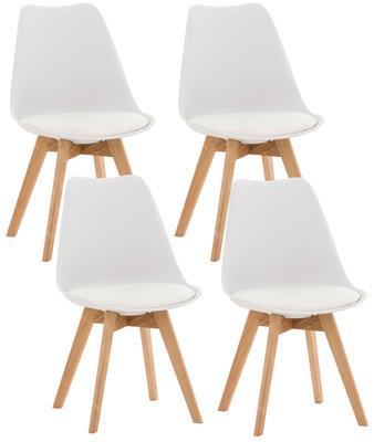Set van 4 eetkamerstoelen Lenaris Wit,Kunststoff