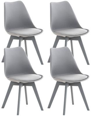 Set van 4 eetkamerstoelen Lenaris Grijs/Grijs,Kunststoff