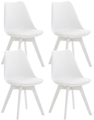 Set van 4 eetkamerstoelen Lenaris Wit/Wit,Kunststoff