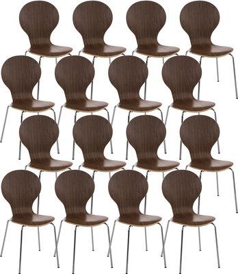 Set van 16 bezoekersstoelen Doegi walnuss,
