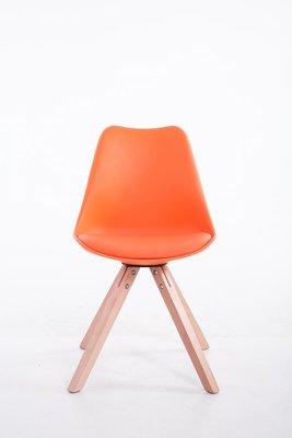 Eetkamerstoel Teulouso Vierkant frame Kunstleer Oranje,natura