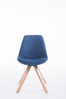 Bezoekersstoel Teulouso Vierkant frame Stof Blauw,natura