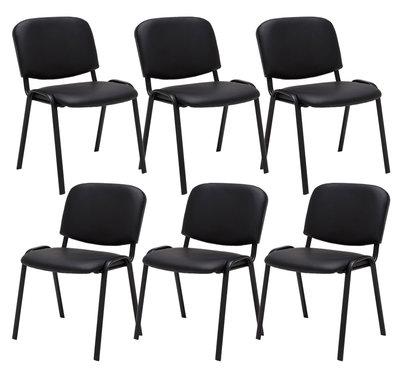 Set van 6 Bezoekersstoel Kin stof Zwart