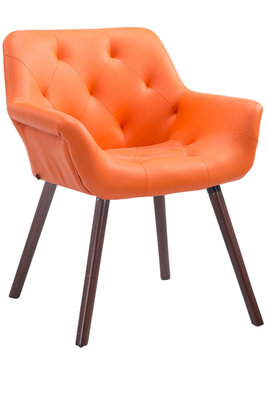 Eetkamerstoel Cissady Kunstleer Oranje,walnuss