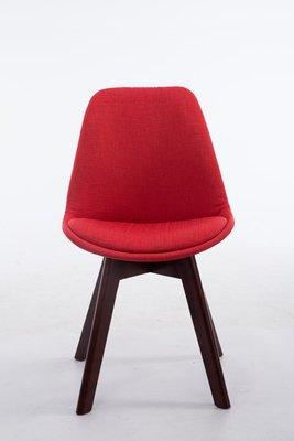 Bezoekersstoel Birnii V2 Stof Rood,walnuss