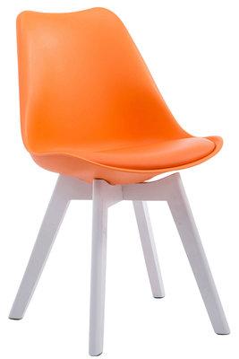 Eetkamerstoel Birnii V2 Kunstleer Oranje,Wit