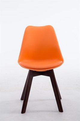Eetkamerstoel Birnii V2 Kunstleer Oranje,walnuss