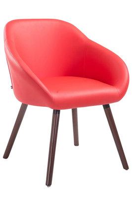 Bezoekersstoel Humbarg, kunstleer Rood,walnuss