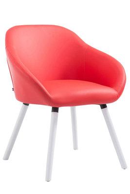 Bezoekersstoel Humbarg, kunstleer Rood,Wit