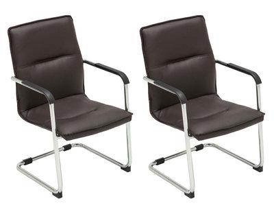 Set van 2 bezoekersstoelen Siittli kunstleer Bruin