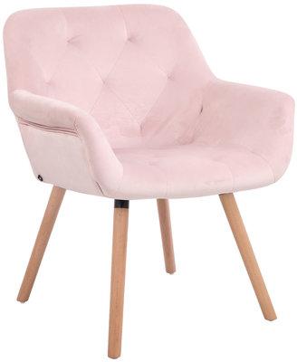 Eetkamerstoel Cissady fluweel pink,natura (eiche),