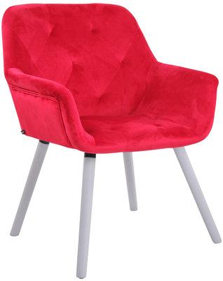 Eetkamerstoel Cissady fluweel Rood,Wit (eiche)