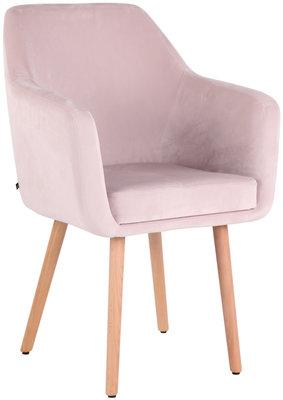 Eetkamerstoel Etrucht fluweel pink,natura (eiche),