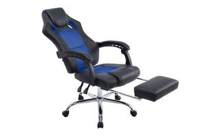 Bureaustoel Wies met Voetensteun Zwart/Blauw