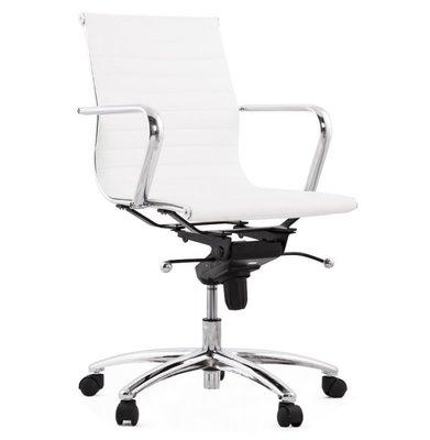 Bureaustoel Dallas Wit-Design-Leer