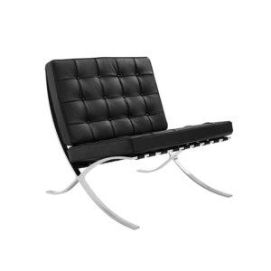 Barcelona Chair Splitleder Zwart
