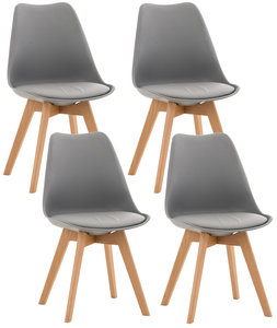 Set van 4 eetkamerstoelen Lenaris Grijs,Kunststoff