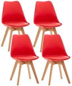 Set van 4 eetkamerstoelen Lenaris Rood,Kunststoff