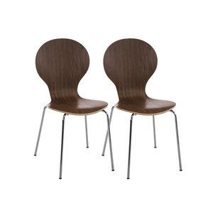 Set van 2 stapelstoelen Doegi walnuss,