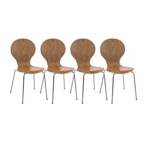 Set van 4 stapelstoelen Doegi eiche,