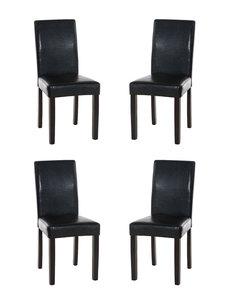 Set van 4 eetkamerstoelen Ina donkerbruin Zwart
