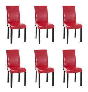 Set van 6 eetkamerstoelen Ani Zwart Rood