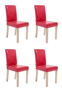 Set van 4 eetkamerstoelen Ani  Kunstleer Rood