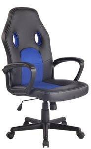 Bureaustoel Ilbeng Kunstleer Zwart/Blauw