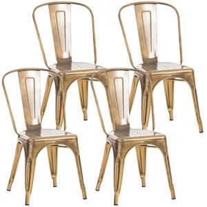 Set van 4 Binedekt stoelen gold,