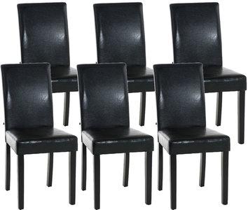 Set van 6 eetkamerstoelen Ani Zwart Zwart