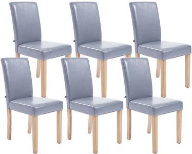 Set van 6 eetkamerstoelen Ani Kunstleer Grijs