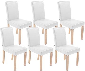 Set van 6 eetkamerstoelen Ani Kunstleer Wit