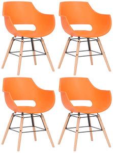 Set van 4 stoelen Skein Oranje,natura
