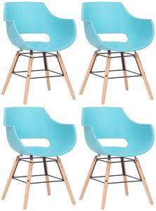 Set van 4 stoelen Skein Blauw,natura