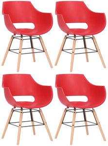Set van 4 stoelen Skein Rood,natura