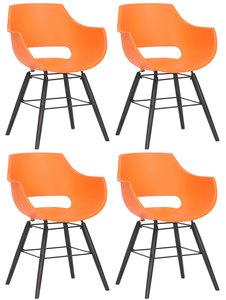 Set van 4 stoelen Skein Oranje,Zwart