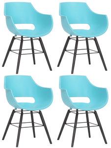 Set van 4 stoelen Skein Blauw,Zwart