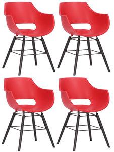 Set van 4 stoelen Skein Rood,Zwart