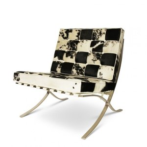 Barcelona Chair Xclusive Cowhide Zwart/Wit